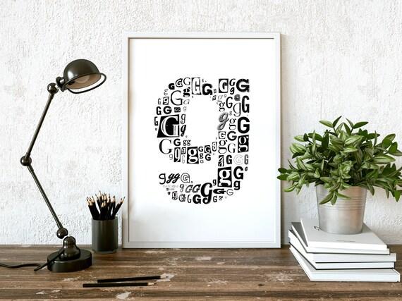 Letter G Print Printable letter poster letter g wall decor | Etsy