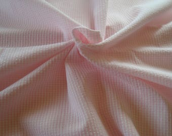 Quilted pink and white striped cotton fabric coupon
