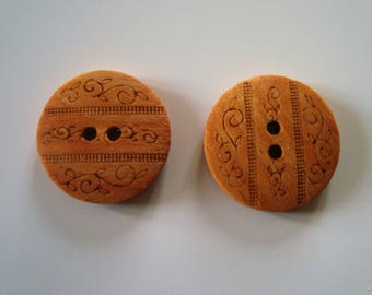 Button design arabesque wood - engraved - 2 holes - 23 mm - sewing - knitting