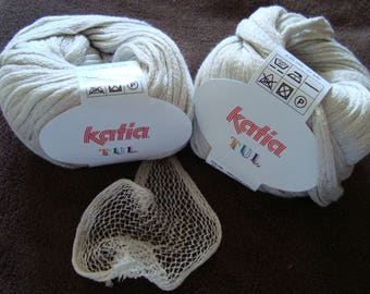 Ball of cotton tulle from Katia for scarf beige - needles 4.5 - 5