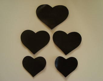 Set of 7 hearts in black leather 3 different sizes
