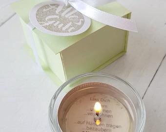 Tea light with message - *All the best*. Gift idea, tea light, lucky light, birthday gift, gift for girlfriend, souvenir