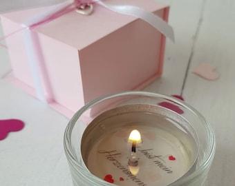 Tea light with message, gift idea, tea light, lucky light, heart person, gift for girlfriend, souvenir