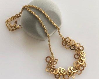 a5f83ac67bb8 Vintage Fun 14k Gold Circle Cluster Necklace 5.5g Italy