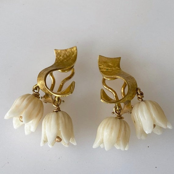 Exquisite 14k Lily of the Valley Bone Earrings 9g