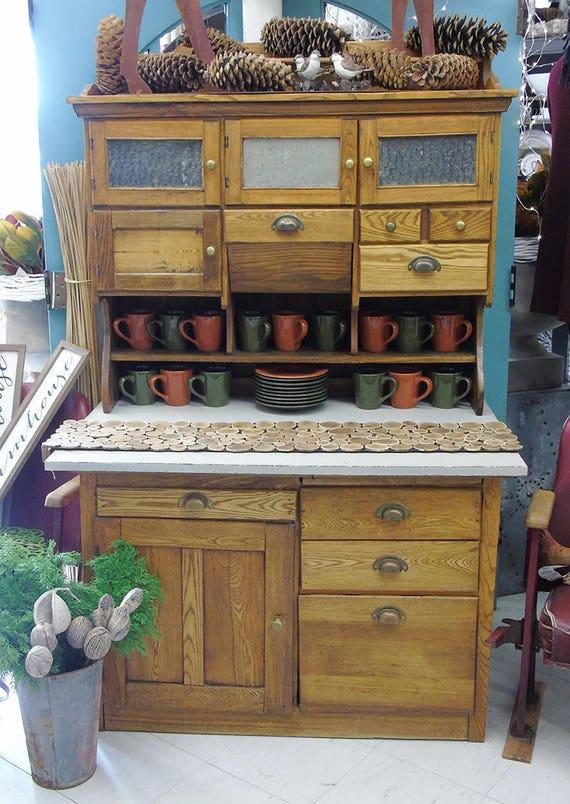 Sold Antique Hutch Farmhouse Kitchen Hutch Cottage Rustic Kitchen Cabinet Storage Buffet China Cabinet