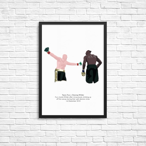 Tyson Fury V Deontay Wilder Illustrated Boxing Print Poster Etsy