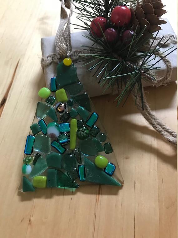 Christmas Ornament Fused Glass Christmas Tree In Green Tones Handmade