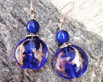Dangle earrings blue and silver glass beads