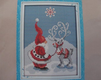 """Embroidery Kit """"Santa Claus and his reindeer"""" cross - stitch new"""