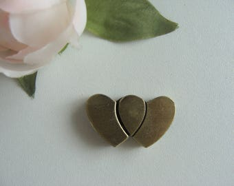 1 magnetic heart antique bronze 31 * 18 mm