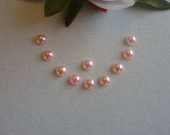 Set of 10 coral back cabochons flat