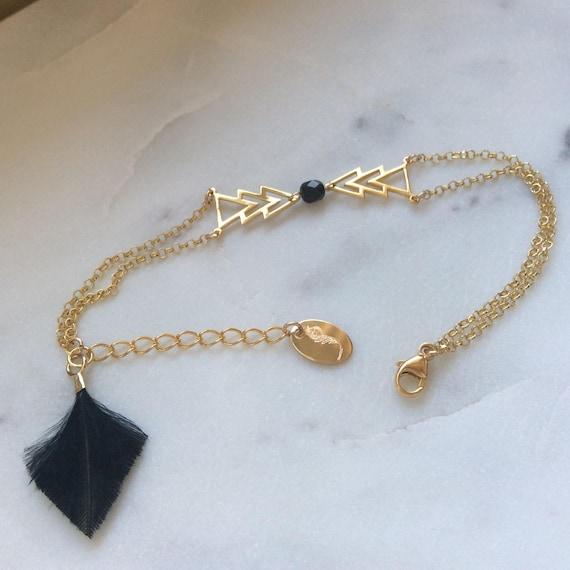 8b0feef9939df Vermeil bracelet and feather