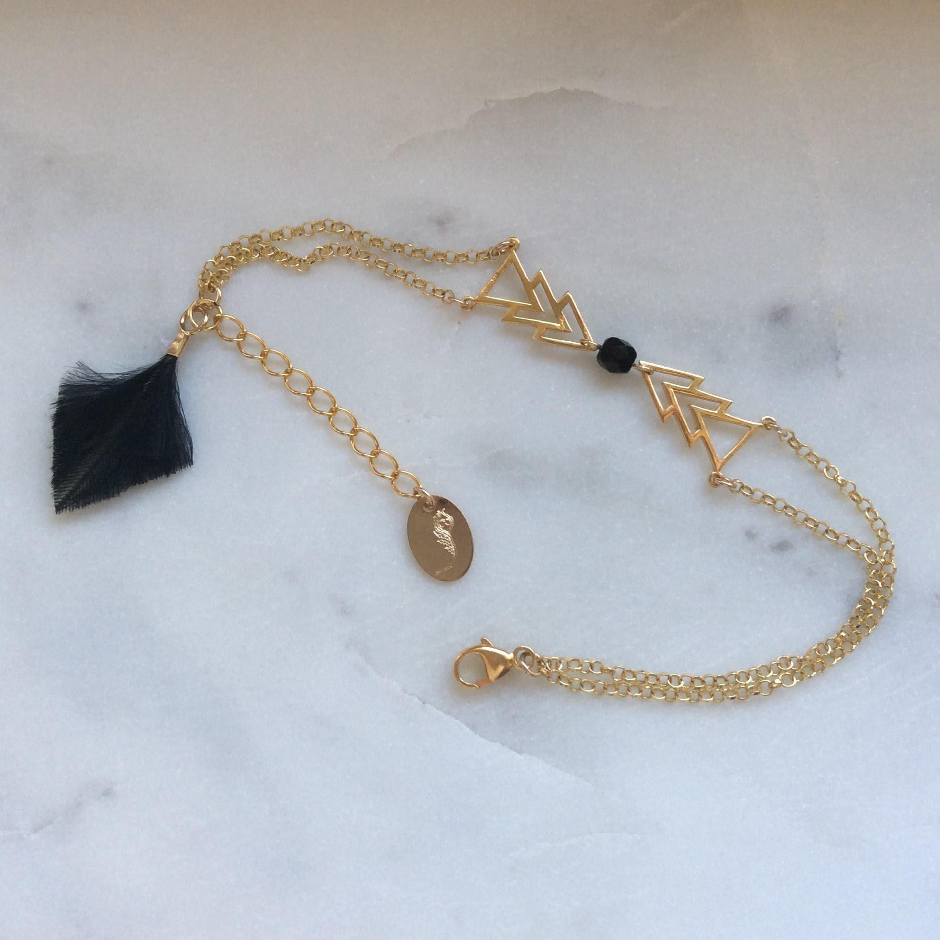 a7a9c7fe9d88b Vermeil bracelet and feather Clarisse