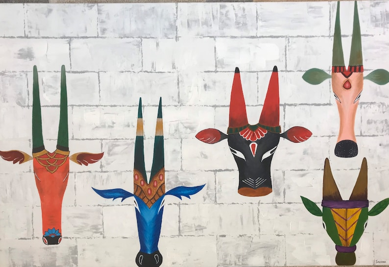 Indian painting Indian contemporary art. Indian art Indian folk painting Decorative Bull Indian decor Indian wall art