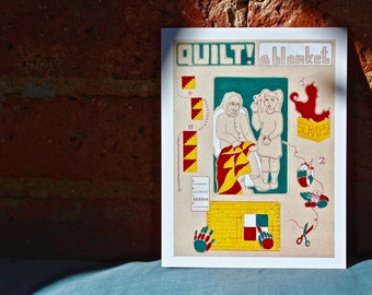 Quilt! A Blanket - Set of Postcards - DIY Ethic - Do It Yourself - Children's ABCs Book
