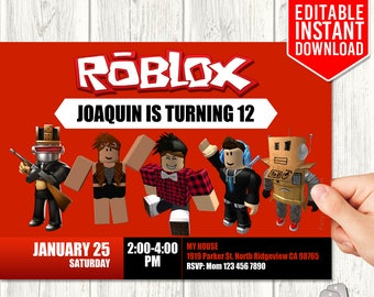 Roblox Invitations, Roblox Invitation Download, Roblox Invites, Roblox Birthday Party, Roblox Instant Download, PDF Template, Editable Text