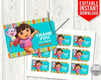 Dora Thank You Tags, Dora the Explorer Tags, Dora Birthday Party, Dora Party Favors, Dora Favor Tags, Editable PDF, Instant Download