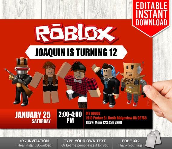 Roblox Invitations Roblox Invitation Download Roblox Etsy