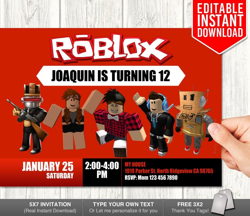 Invitaciones de Roblox Roblox invitación descargar Roblox | Etsy