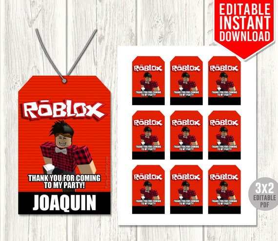 Roblox Thank You Tags Roblox Favor Tags Roblox Party Favors Etsy
