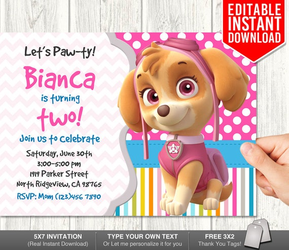 Skye Invitations Invitation Download Birthday
