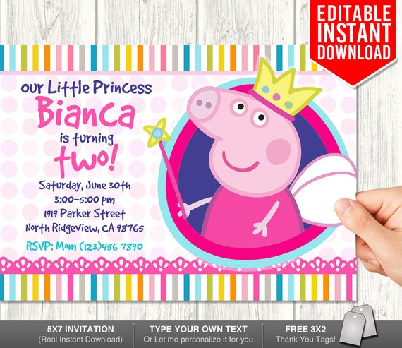 Peppa Pig Invitation Instant Download Princess