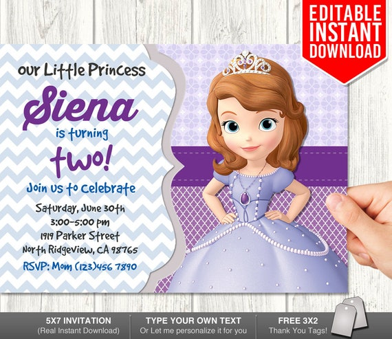 Sofia the first invitation instant download sofia first etsy image 0 filmwisefo