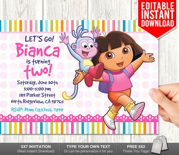Dora Explorer Invitation Download Dora Invitations Dora Birthday Invitation Editable Dora Invites Dora Pdf Template Instant Download