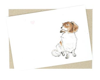 Greeting Card - Dog with heart, love