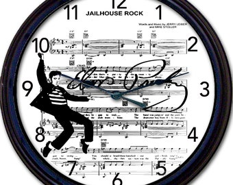 Elvis, Presley, Elvis Presley, Jailhouse Rock, Sheet Music, Wall Clock, Clock, Silhouette, Song, Singer, Rock and Roll  New 10""