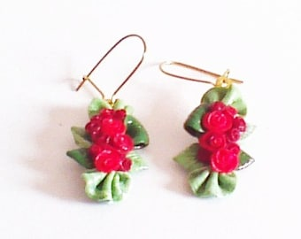 Earrings fimo roses bouquet