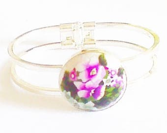 Bracelet cabochon double branch silver color, pattern: loads of thoughts