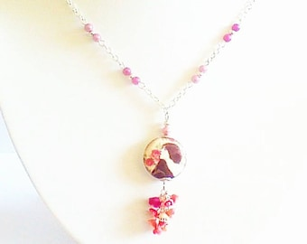 """Fine necklace romantic """"shabby"""" chic and small flowers"""