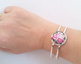 double bracelet branch of silver, antique roses.