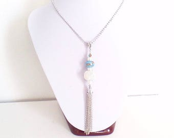 "Fine necklace sautoir ""turquoise and silver"""