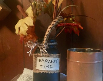 Harvest thyme painted mason jar with fall floral,burlap label