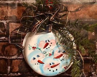 Vintage enameled pan painted with snowmen
