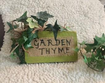 garden thyme ,primitive decor ,garden decor,primitive sign,farmhouse decor,