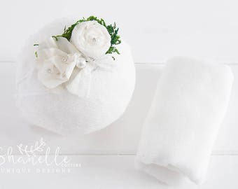 Photography wrap & baby tie-back/photo prop/headband set with sheese cloth wrap/ newborn props /bebe wrap set