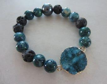 Aromatherapy Bracelet - Ocean Blue Druzy
