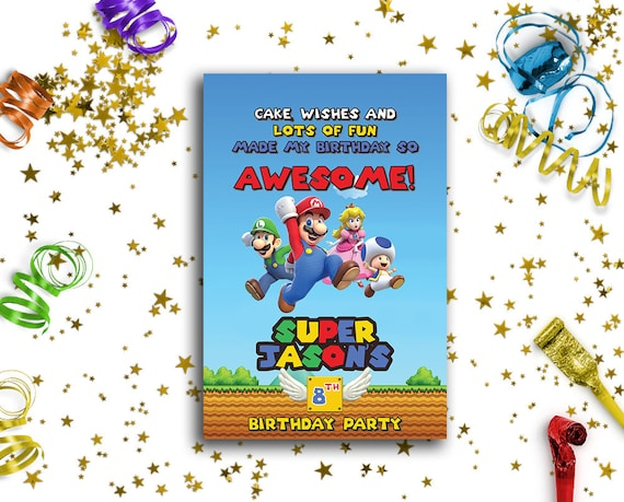 Super Mario Birthday Card Super Mario Party Thank You Card Etsy