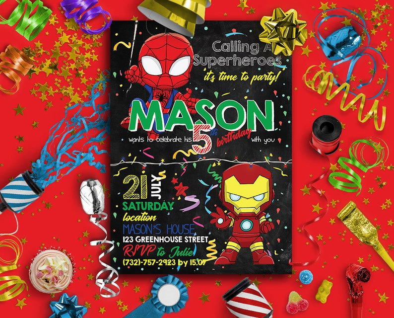 Spiderman Party Invitation Birthday