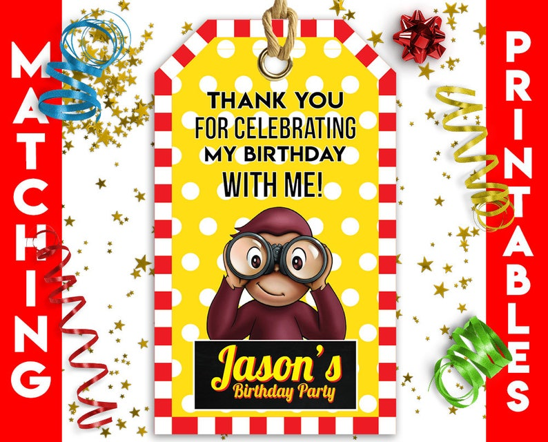 Curious George Party Decorations Curious George Favor Bag Tags Curious George Party Supplies Curious George Printable Favor Bag Tags
