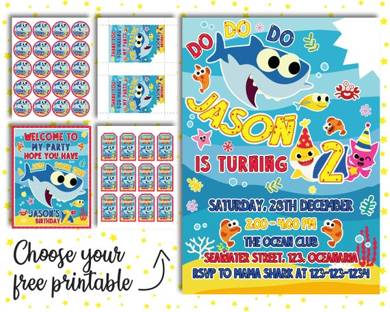 Baby Shark Invitation PLUS Free Gift Birthday