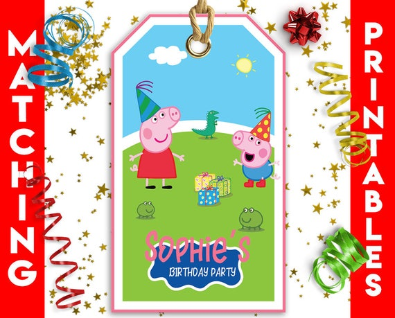 Peppa Pig Party Supplies Favor Bag Tags