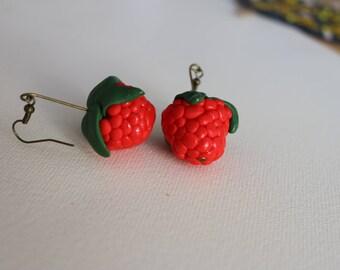 Red berries raspberry Earrings, Polymer clay jewelry, Handmade Raspberry, Berry Fruit , handmade food