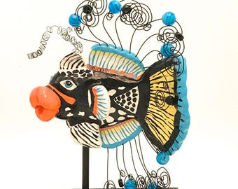 Fish Sculpture with Stand Clown Triggerfish Made to Order Whimsical Great Gift FS00074