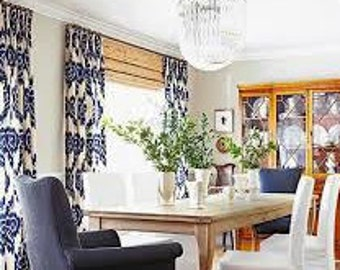 Blue Ikat Curtains Drapes Panel Cotton Linen Custom Length Width Blue White  IKAT Pleated DURALEE Shade