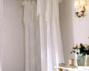 Farmhouse White Sheer Shower Curtain Shabby Chic Vintage Shower Curtains  Shower Curtain Extra Long Custom Shower Curtain Farmhouse Claw Foot